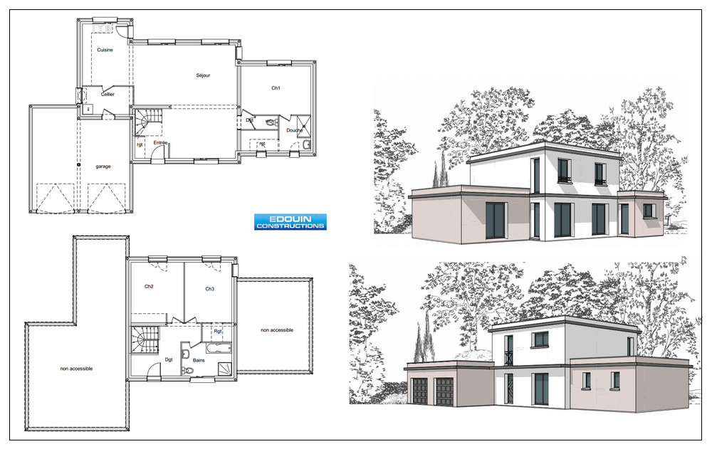 maison contemporaine toit terrasse - Planning Construction Maison Individuelle